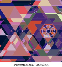 Hexagon and Triangle Kaleidoscope Abstract Pattern