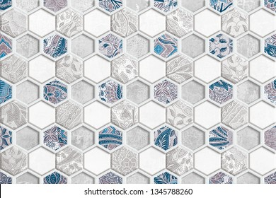 Hexagon Wall Tile Design Background,Beautiful mega patchwork pattern for design and fashion with decorative elements in hexagon. Portuguese tiles, Azulejo, Moroccan ornaments,set of Portuguese tiles.