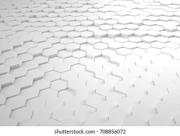 Hexagonal Abstract Wavy 3D Pattern Background with Shadows and Reflections, Honeycomb Floor