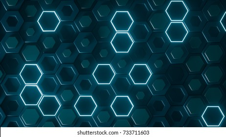 Hexagonal geometric background. Abstract structure of lots of different height hexagons with luminous elements. Creative honeycomb glowing surface. Top view. Cell pattern. 3d rendering