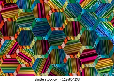 Hexagonal geometry cubes and colors