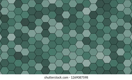 Hexagonal grid pattern with random shades - version 411-C. Color used as matrix: Hooker green.