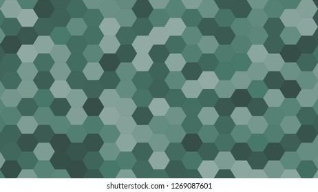 Hexagonal grid pattern with random shades - version 411-D. Color used as matrix: Hooker green.