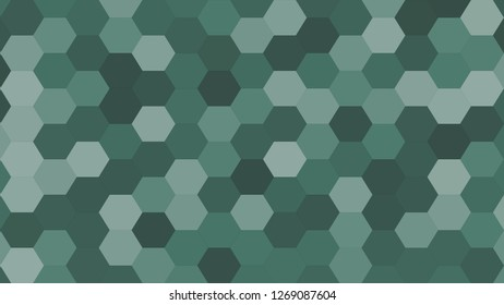 Hexagonal grid pattern with random shades - version 411-B. Color used as matrix: Hooker green.