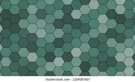 Hexagonal grid pattern with random shades - version 411-A. Color used as matrix: Hooker green.