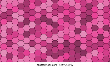 Hexagonal grid pattern with random shades - version 452-C. Color used as matrix: Barbie Pink.