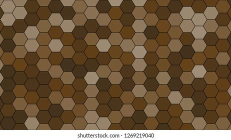 Hexagonal grid pattern with random shades - version 467-C. Color used as matrix: Pullman Brown.