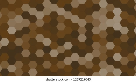 Hexagonal grid pattern with random shades - version 467-D. Color used as matrix: Pullman Brown.