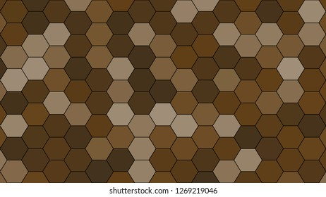 Hexagonal grid pattern with random shades - version 467-A. Color used as matrix: Pullman Brown.