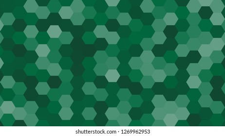 Hexagonal grid pattern with random shades - version 601-D. Color used as matrix: Dartmouth green.