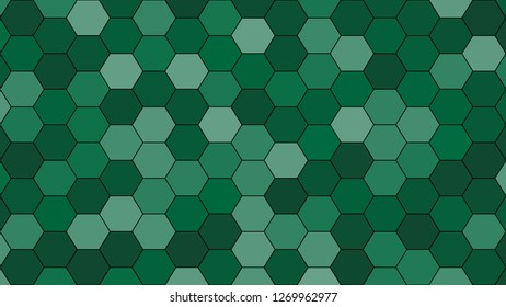Hexagonal grid pattern with random shades - version 601-A. Color used as matrix: Dartmouth green.