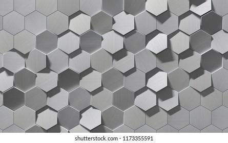Hexagonal Metal Background (Detail 3d illustration)