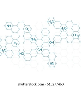 Hexagonal molecule. Genetic and chemical compounds. Illustration