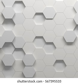 Hexagonal pattern, 3d illustration