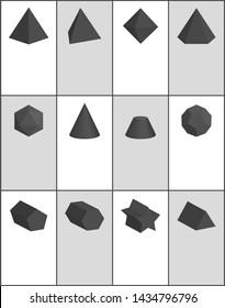 Hexagonal and pentagonal pentagrammic triangular black prisms blunted cone square pyramid octahedron raster illustrations set