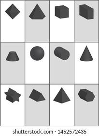Hexagonal and pentagonal pentagrammic triangular black prisms blunted cone square pyramid octahedron illustrations set