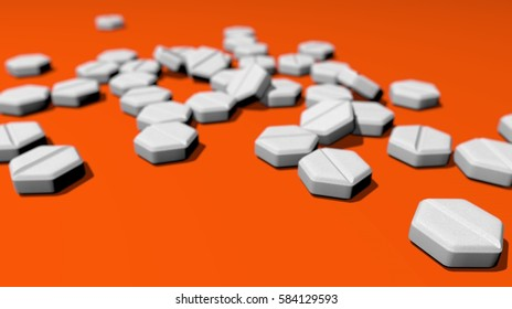Hexagonal pills for abortion on orange table. 3D Rendering.
