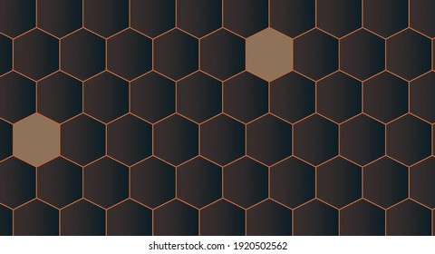 Hexagonal shapes on colourful background.