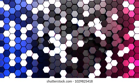 Hexagonal structure with neon light, 3d illustration