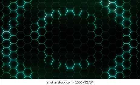 Hexagonal wave from center. Futuristic technology background with hexagons pattern.
