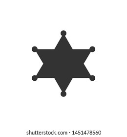 Hexagram sheriff icon isolated. Flat design