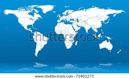 Hi Detail Real World Map Territorial Stockillustration 73401271 ...