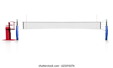 Hi resolution 3d rendering of volleyball net isolated on white background