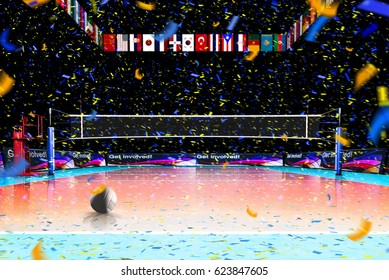 Hi resolution 3d rendering of volleyball court isolated on black background