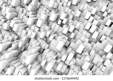Hi tech structure of white creative block random size 3d geometry patterns.futuristic and interior concept.3d illustration and rendering.