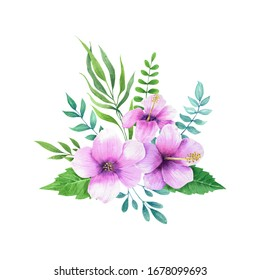 Hibisco flowers arrangement. Hand drawn watercolor tropical flowers isolated on white background.