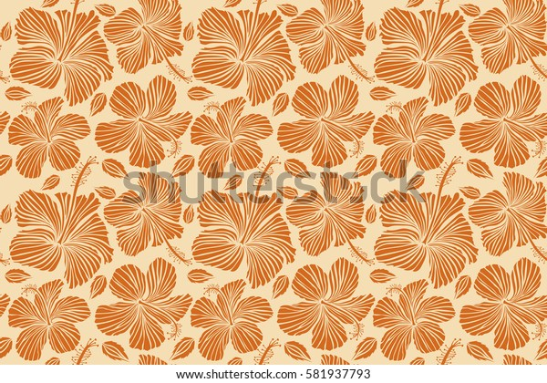 Hibiscus floral pattern. Watercolor hand drawing style. Design in beige and orange colors for invitation, wedding or greeting cards, textile, prints or fabric. Floral seamless pattern hibiscus flowers