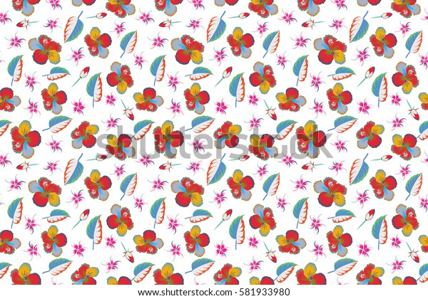 Hibiscus flower and leaves pattern on a white background in a trendy multicolored style. Raster hawaiian tropical natural floral seamless pattern.