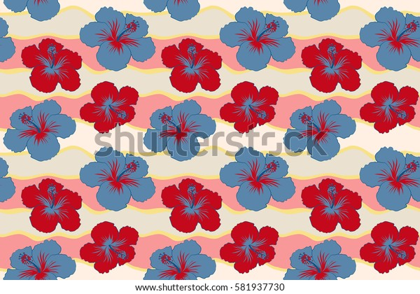 Hibiscus flower seamless pattern in blue and red colors.
