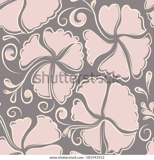 Hibiscus flower seamless pattern in neutral, gray and beige colors.