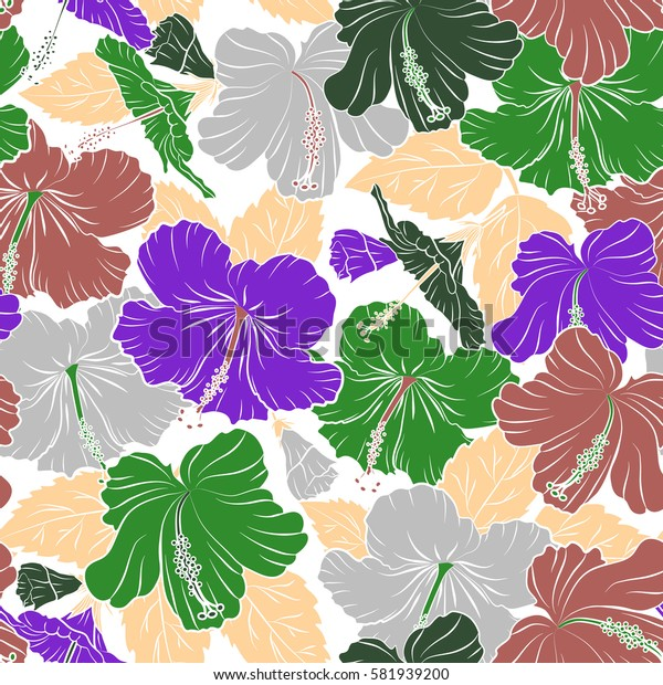 Hibiscus flower seamless pattern in pink, green and violet colors on a white background.