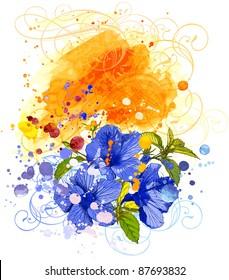 Hibiscus flower & watercolor background. Bitmap copy my vector ID