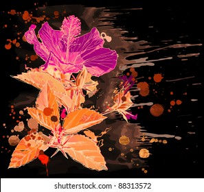 Hibiscus flower & watercolor background. Bitmap copy my vector id 17672155