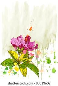 Hibiscus flower & watercolor background. Bitmap copy my vector id 16239829