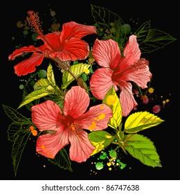 Hibiscus flower - watercolor paint. Bitmap copy my vector ID 11505892