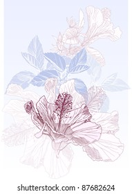 Hibiscus flower - watercolor paint. Bitmap copy my vector ID 27131494