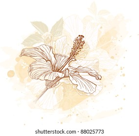 Hibiscus flower - watercolor paint. Bitmap copy my vector ID