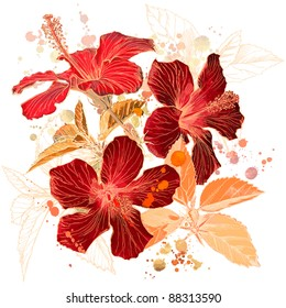 Hibiscus flower - watercolor paint. Bitmap copy my vector id 18131956