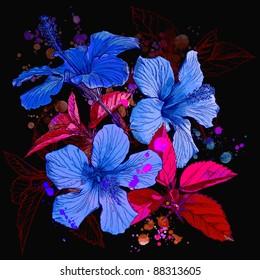 Hibiscus flower - watercolor paint. Bitmap copy my vector id 11832481