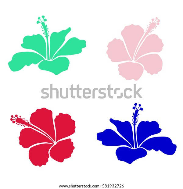 Hibiscus flowers collection in red and green colors. Watercolor painting effect, illustration of red and green hibiscus flowers. Hand drawn sketch.