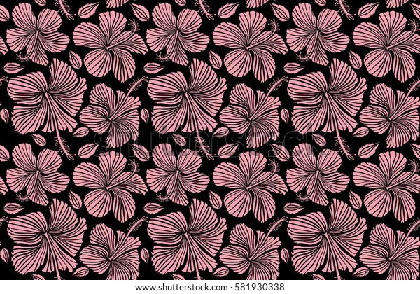 Hibiscus flowers on black background in pink colors.