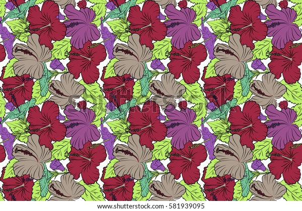 Hibiscus flowers on white background in violet, red and green colors.