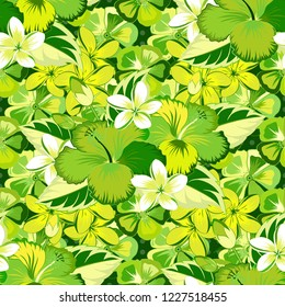 Hibiscus flowers seamless pattern. Seamless Floral Pattern in yellow, white and green colors.