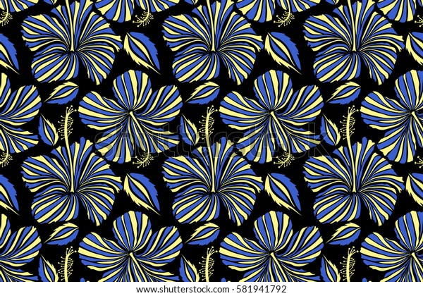 Hibiscus flowers seamless pattern on a black background in yellow and blue colors.
