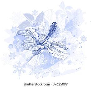 Hibiscus flowers & snowflakes. Bitmap copy my vector ID 39645643