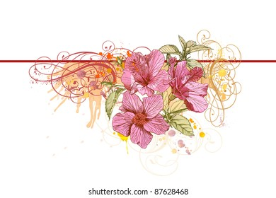 Hibiscus flowers, vintage calligraphy ornament & watercolor paint. Bitmap copy my vector ID 13880719